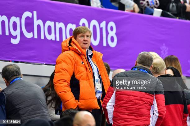 Netherlands' King WillemAlexander attends the short track speed skating heats during the Pyeongchang 2018 Winter Olympic Games at the Gangneung Ice...