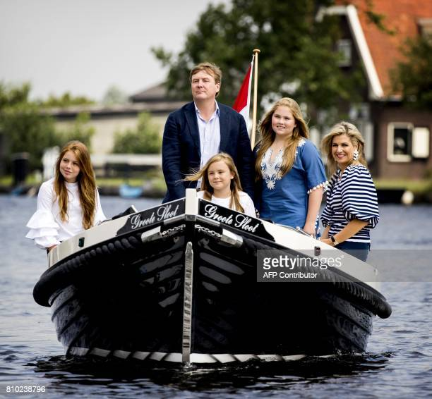 Netherlands King WillemAlexander poses with Queen Maxima and Princesses Amalia Ariane and Alexia during the annual royal photo session at The...