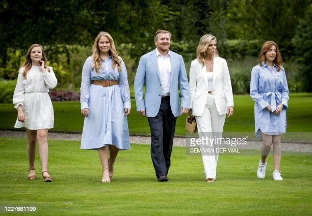Netherlands' King Willem-Alexander, Queen Maxima, Princess Amalia, Princess Alexia and Princess Ariane pose in the garden of Paleis Huis ten Bosch,...