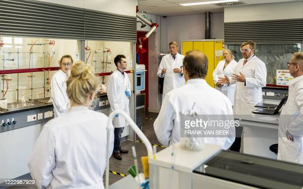 Netherlands' King WillemAlexander speaks during a visit to Avans Hogeschool Breda in Breda on June 26 a working visit to the school to investigate...
