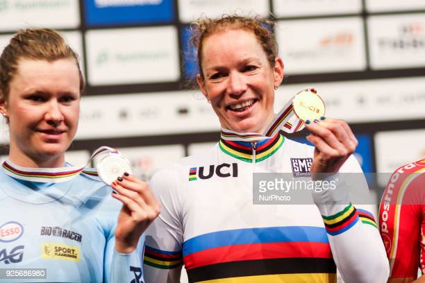 Netherland's Kirsten Wild celebrates on the podium after her victory in the women's scratch race at The UCI World Cycling Championships in Apeldoorn...