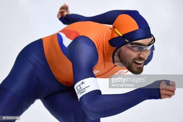 Netherlands' Kjeld Nuis competes in the men's 1,000m speed skating event during the Pyeongchang 2018 Winter Olympic Games at the Gangneung Oval in...
