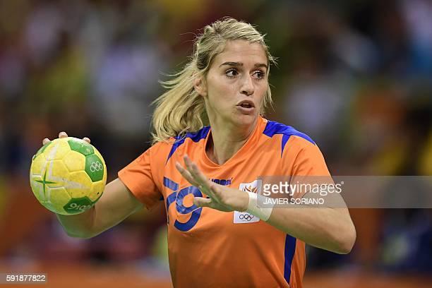 Netherlands' left back Estavana Polman prepares to shoot during the women's semifinal handball match Netherlands vs France for the Rio 2016 Olympics...