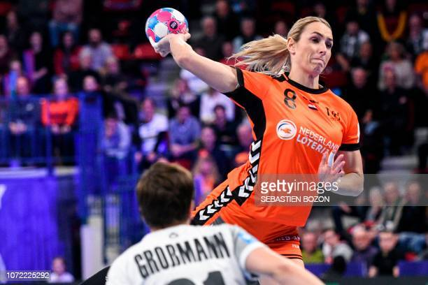 Netherlands' left back Lois Abbingh shoots during the 2018 European Women's handball Championships Group 2 main round match between Netherlands and...