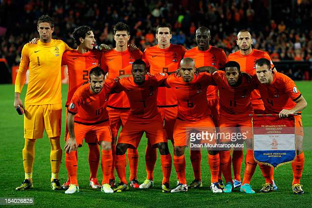 Netherlands line up for the FIFA 2014 World Cup Qualifier between Netherlands and Andorra on October 12 2012 in Rotterdam Netherlands