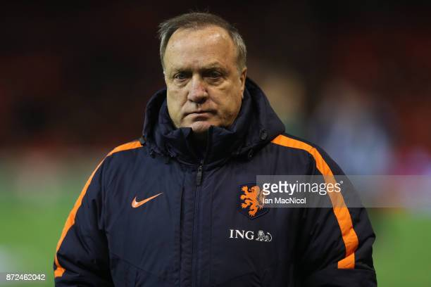 Netherlands manager Dick Advocaat is seen during the International Friendly between Scotland and Netherlands at Pittodrie Stadium on November 9 2017...