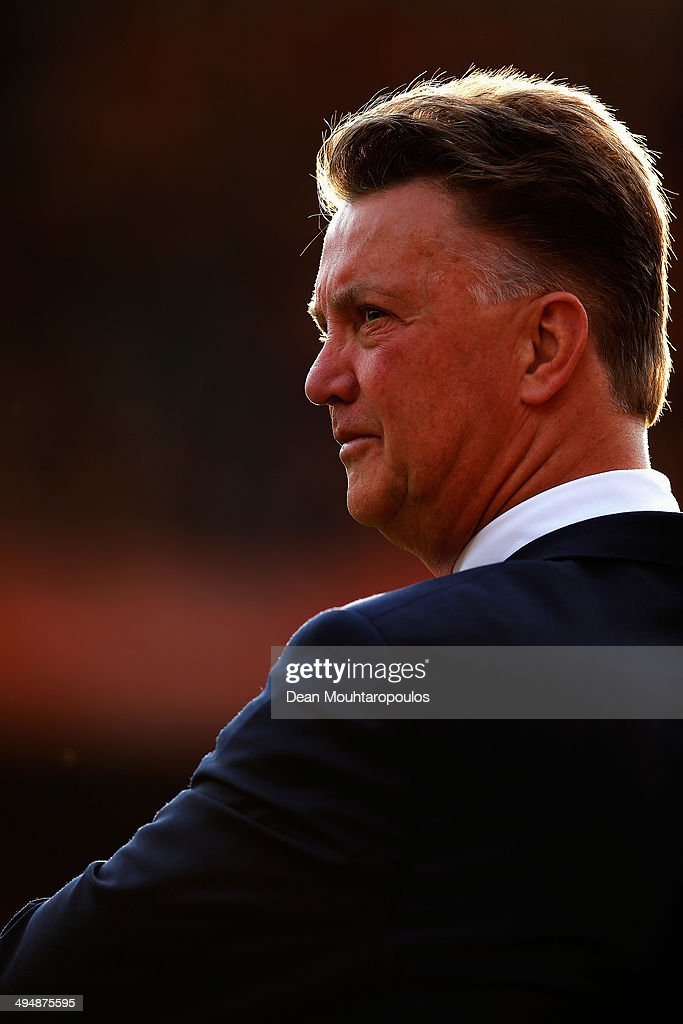 Netherlands Manager, Louis van Gaal looks on prior to the International Friendly match between Netherlands and Ghana at De Kuip on May 31, 2014 in Rotterdam, Netherlands.