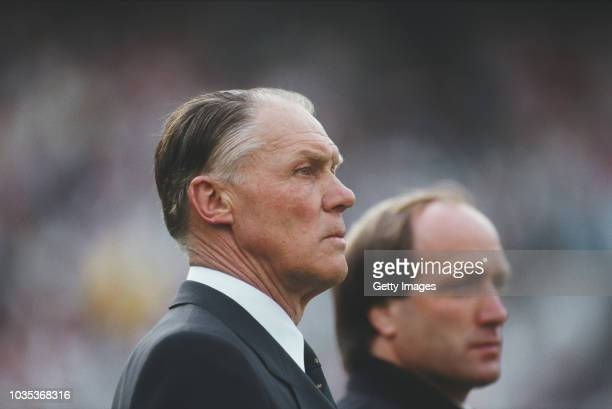 Netherlands manager Rinus Michels pictured looking on with assistant coach Dick Advocaat before a Euro 88' qualifier against Hungary on April 29 1987...