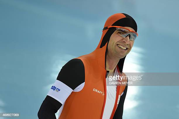 Netherlands' Mark Tuitert smiles after competing in the Men's Speed Skating 1000 m at the Adler Arena during the Sochi Winter Olympics on February 12...