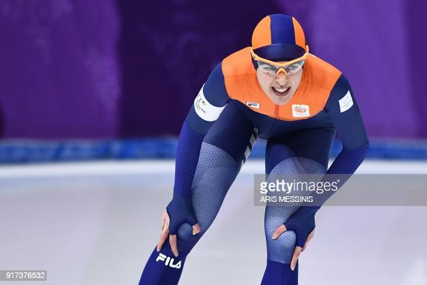 Netherlands' Marrit Leenstra react after the women's 1,500m speed skating event during the Pyeongchang 2018 Winter Olympic Games at the Gangneung...