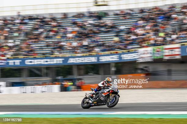 Netherlands' Michael van der Mark on his BMW in action in the second race of the World Superbike Championship on the TT Circuit in Assen on July 25,...