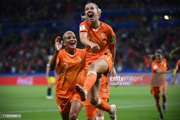 Netherlands' midfielder Jackie Groenen celebrates after scoring a goal during the France 2019 Women's World Cup semi-final football match between the...