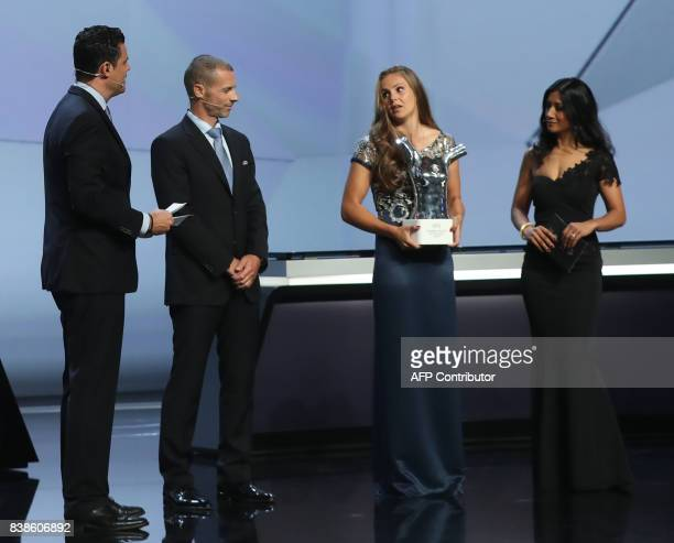 Netherlands' midfielder Lieke Martens speaks after she was awarded the title of UEFA 2016/17 Best Women's football Player at the conclusion of the...
