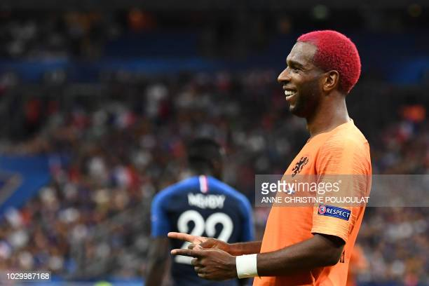 Netherlands' midfielder Ryan Babel celebrates after scoring a goal during the UEFA Nations League football match between France and Netherlands at...