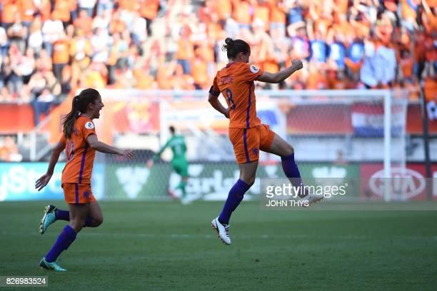 Netherlands' midfielder Sherida Spitse celebrates after scoring a goal during the UEFA Womens Euro 2017 football tournament final match between...