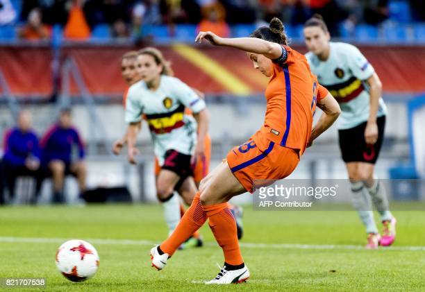 Netherlands' midfielder Sherida Spitse scores during the UEFA Women's Euro 2017 football tournament between Belgium and the Netherlands at Stadium...