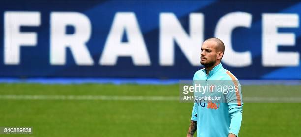 Netherlands' midfielder Wesley Sneijder attends a training session at the Stade de France in SaintDenis north of Paris on August 30 on the eve of the...