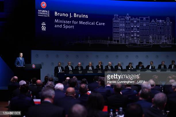 Netherlands Minister for Medical Care and Sports Bruno J. Bruins during the 44th Ordinary UEFA Congress on March 03, 2020 in Amsterdam, Netherlands.