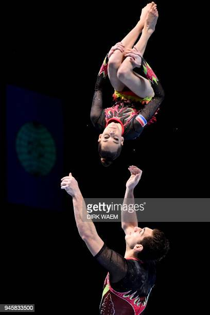 Netherlands mixed pair Fenne van Dijck and Stef Van der Locht perform on the first day of the 26th edition of the World Championships Acrobatic...