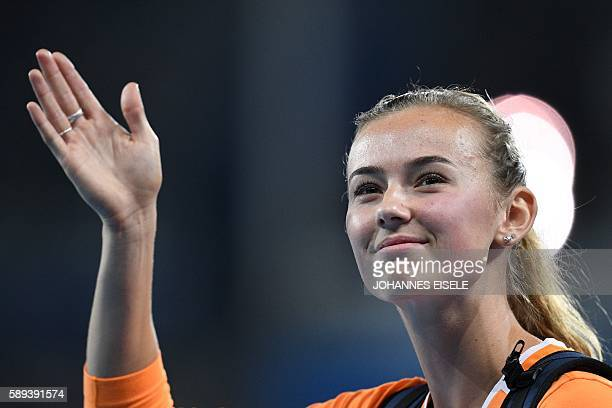 Netherlands' Nadine Visser competes in the Women's Heptathlon Javelin Throw during the athletics event at the Rio 2016 Olympic Games at the Olympic...