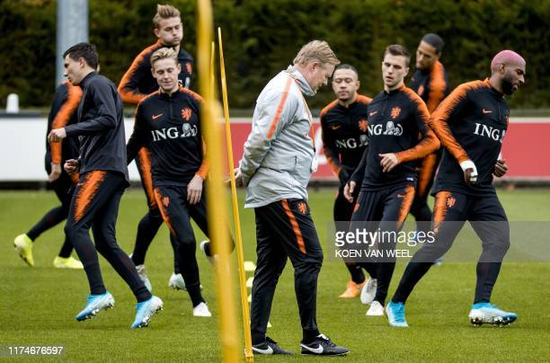 Netherlands' national football team coach Ronald Koeman takes part in a training session on the eve of the team's Euro 2020 qualifier match, on...