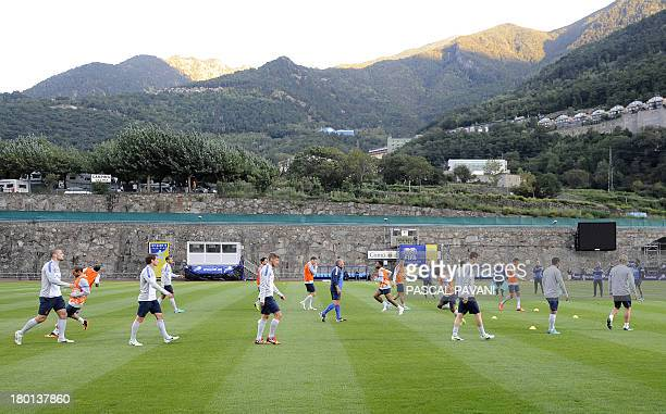 Netherland's national team players take part in a training session at the Estadi Comunal stadium in Andorra la Vella on September 9 the day before...