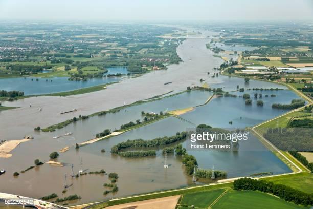 Netherlands, Nijmegen. Waal river. Flooded Land