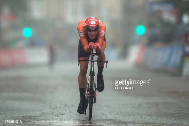 TOPSHOT Netherlands' Nils Eekhoff approaches the line in the Men's U23 Individual Time Trial at the 2019 UCI Road World Championships between Ripon...