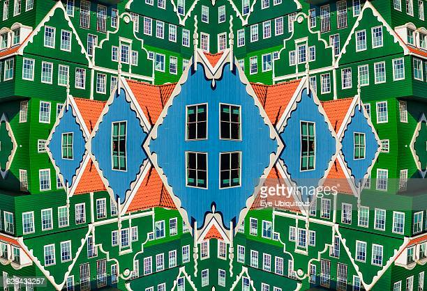Netherlands Noord Holland Zaandam Composite of sections of the Inntel Hotel whose construction design is based on the traditional house facades of...