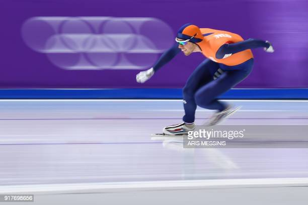 Netherlands' Patrick Roest competes in the men's 1,500m speed skating event during the Pyeongchang 2018 Winter Olympic Games at the Gangneung Oval in...