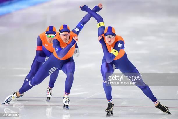 Netherlands' Patrick Roest, Netherlands' Jan Blokhuijsen and Netherlands' Sven Kramer compete in the men's team pursuit final B speed skating event...