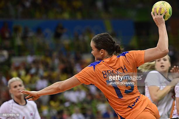 Netherlands' pivot Yvette Broch jumps to shoot during the women's Bronze Medal handball match Netherlands vs Norway for the Rio 2016 Olympics Games...