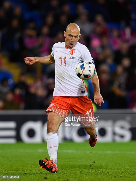 Netherlands player Arjen Robben in action during the friendly International match between Wales and Netherlands at Cardiff City Stadium on November...