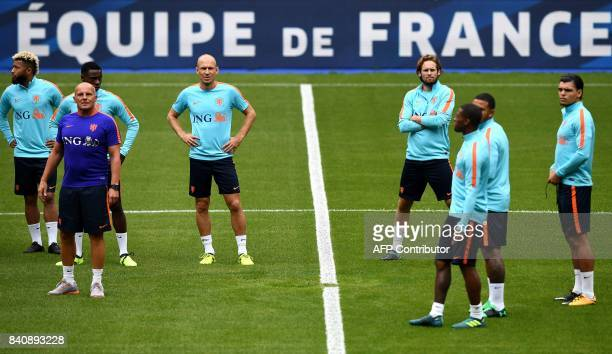 Netherlands' players attend a training session at the Stade de France in SaintDenis north of Paris on August 30 on the eve of the 2018 FIFA World Cup...