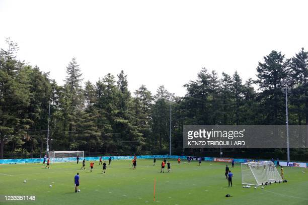 Netherlands' players attend a training session at the team's base camp in Zeist on June 9, 2021 ahead of the UEFA EURO 2020 football competition.
