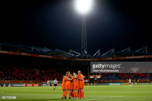 Netherlands' players celebrate after scoring during the Group A match between Belgium and Netherlands during the UEFA Women's Euro 2017 at Koning...