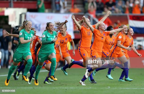 Netherlands players celebrate at the final whistle during the Final of the UEFA Women's Euro 2017 between Netherlands v Denmark at FC Twente Stadium...