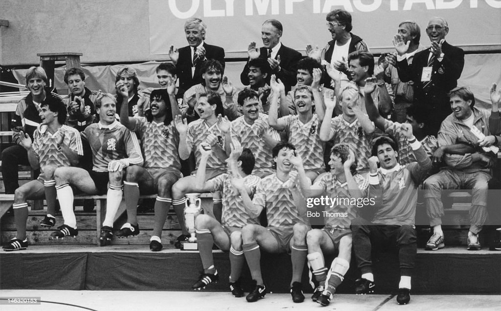 Netherlands players celebrate victory after the UEFA European Championships 1988 Final between USSR and Netherlands held on June 25, 1988 at the Olympiastadion in Munich, West Germany.
