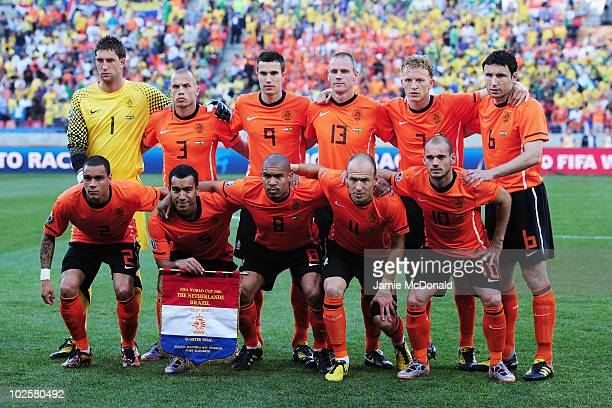 Netherlands players line up for a group photo prior to the 2010 FIFA World Cup South Africa Quarter Final match between Netherlands and Brazil at...