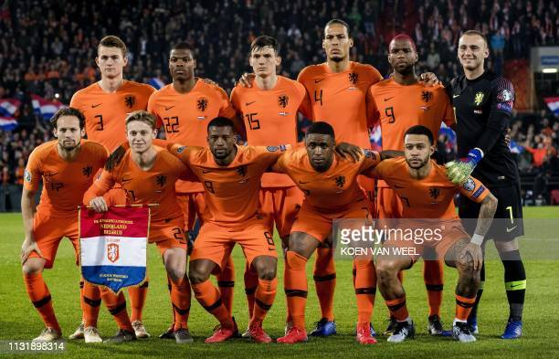 Netherlands' players pose before the Euro 2020 qualification football match between the Netherlands and Belarus at the Feijenoord stadium in...