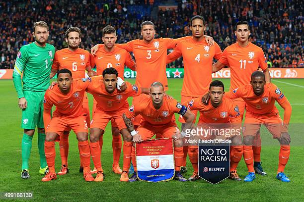 Netherlands players pose for a team group photo before the UEFA EURO 2016 Qualifying Group A match between the Netherlands and the Czech Republic at...
