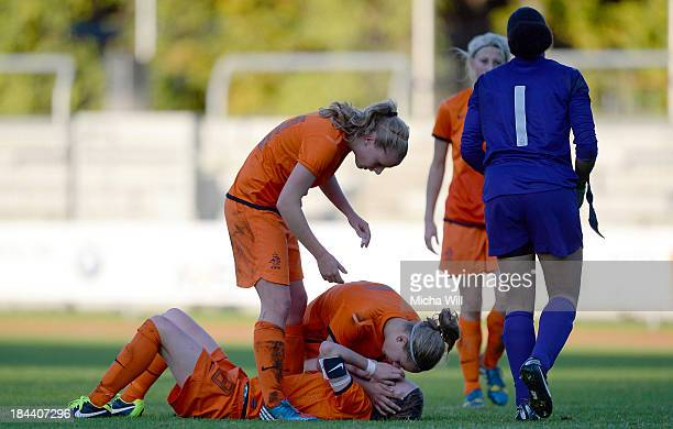 Netherlands players react after the U17 Girls Euro Qualifier match between Germany and Netherlands at FuchsParkStadion on October 13 2013 in Bamberg...