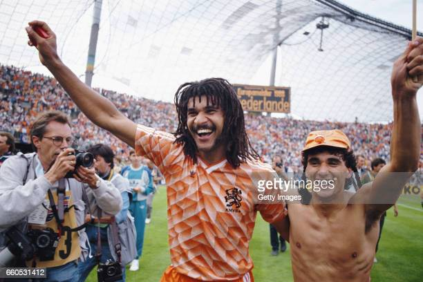 Netherlands players Ruud Gullit and Gerald Vanenburg celebrate after their 2-0 victory in the 1988 European Championships Final against USSR at...