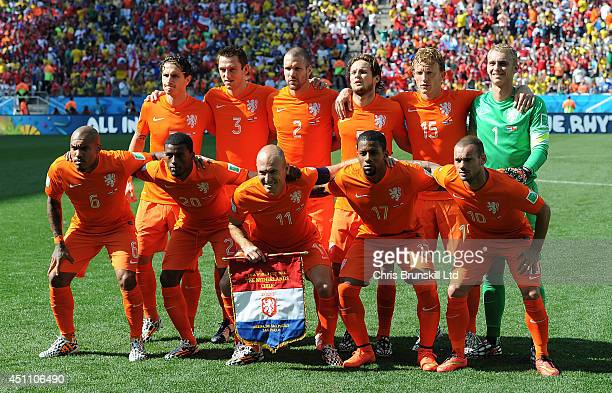 Netherlands pose for a team photograph ahead of the 2014 FIFA World Cup Brazil Group B match between Netherlands and Chile at Arena de Sao Paulo on...