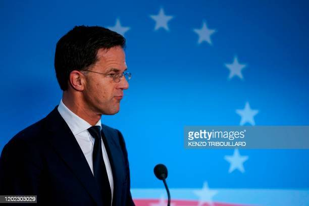 Netherlands' Prime Minister Mark Rutte addresses the press ending the second day of the special European Council summit in Brussels on February 21...