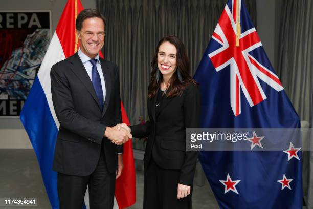 Netherlands Prime Minister Mark Rutte and Prime Minister of New Zealand Jacinda Ardern pose for a photo following a powhiri, Maori welcoming...