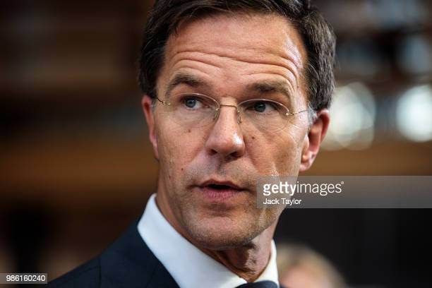 Netherland's Prime Minister Mark Rutte arrives at the Council of the European Union on the first day of the European Council leaders' summit on June...