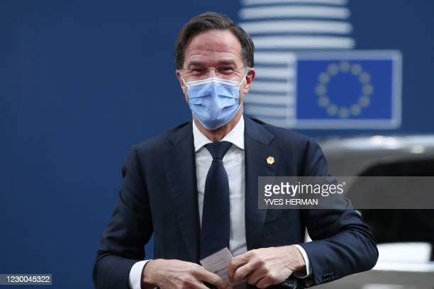 Netherlands' Prime Minister Mark Rutte arrives at the EU headquarters' Europa building in Brussels on December 10 prior to a European Union summit.