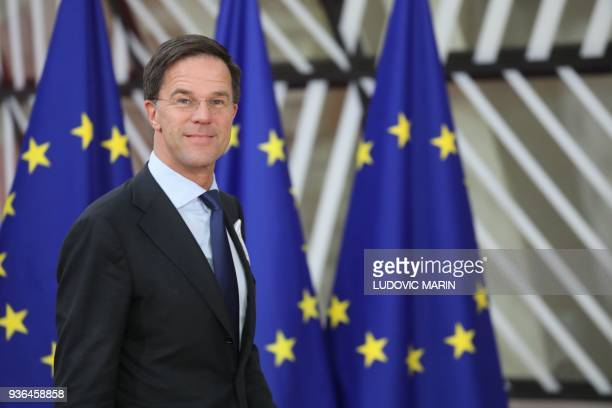 Netherland's Prime minister Mark Rutte arrives on the first day of a summit of European Union leaders at the EU headquarters in Brussels, on March...