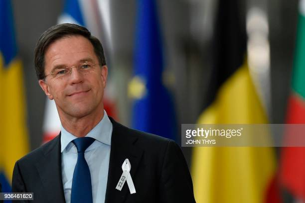 Netherland's Prime minister Mark Rutte arrives on the first day of a summit of European Union leaders at the EU headquarters in Brussels on March 22...